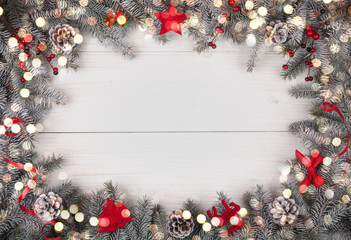 Christmas background on the white wooden desk. Top viev with copy space