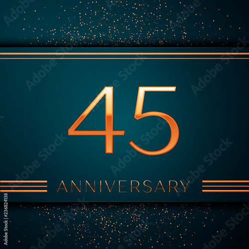 Photo  Realistic Forty five Years Anniversary Celebration design banner
