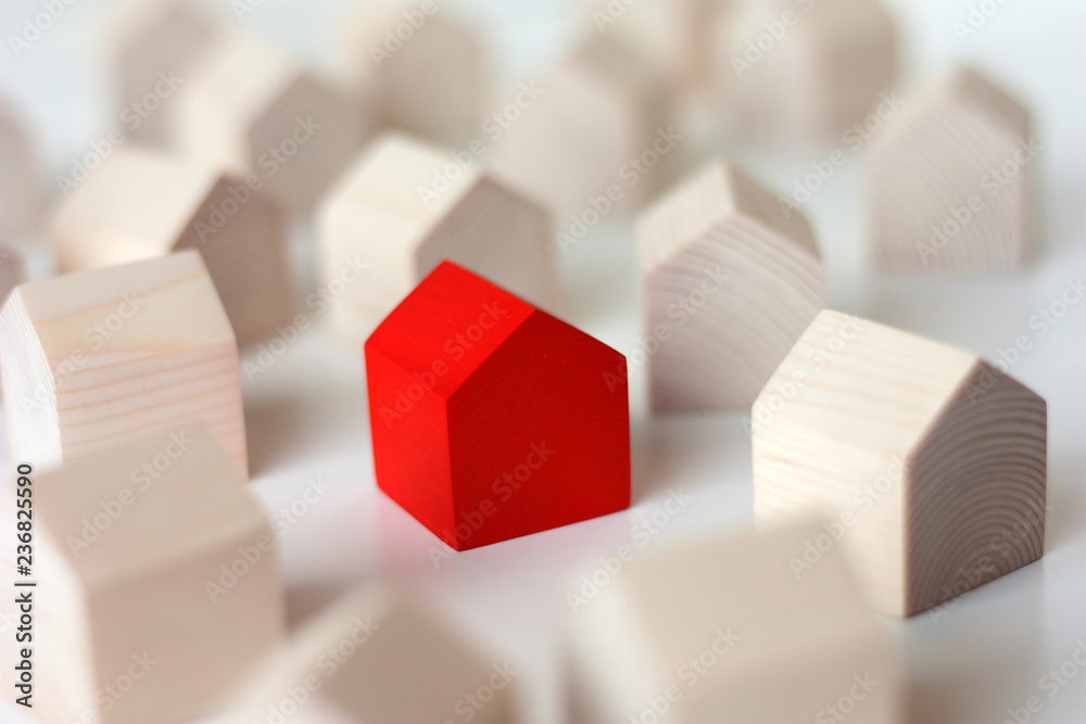 Fototapeta Many wooden houses with single red house in center