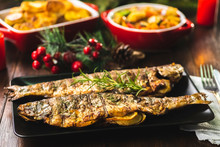 Grilled Trout Stuffed With Vegetables