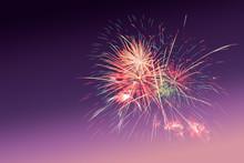 Colourful Fireworks On Purple ...
