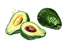 Fresh Ripe Avocado. Watercolor Hand Drawn Illustration Isolated On White Background