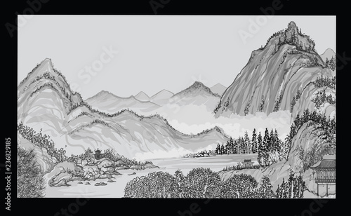 Deurstickers Art Studio Chinese landscape with mountain and clouds