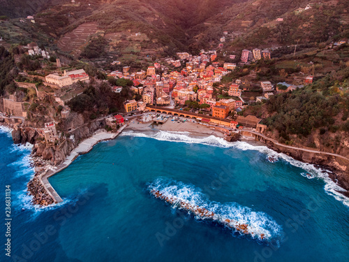 Obraz na plátně  Aerial photo drone town of Portovenere near Cinque Terre, Liguria, Italy