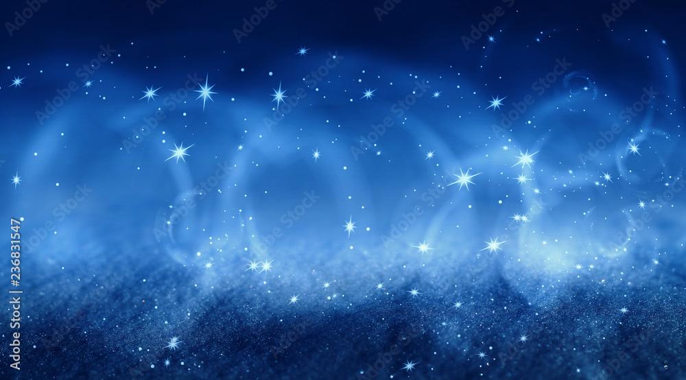 Fototapeta Blue abstract snow background, bokeh, smoke, glow, snowflakes, stars