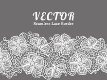 White Seamless Lace Border With Flowers On White Background