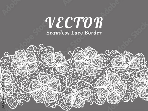 Valokuva  White seamless lace border with flowers on white background