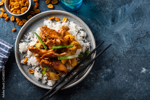 Kung Pao chicken, stir-fried Chinese sichuan traditional sichuan  dish with chicken, peanuts, vegetables and chili peppers Canvas Print
