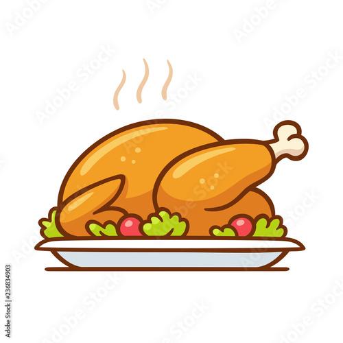 Stampa su Tela Roast turkey or chicken dinner