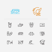 Elearning Icons Set. Logics And Elearning Icons With Blackboard, Clip And Quill Pen. Set Of Zoom For Web App Logo UI Design.