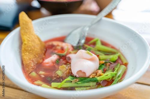 Yentafo noodle soup, Thai food