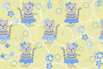 Vector seamless pattern with cartoon cats and a cat inscription. Vector illustration with cartoon cats. Print for wallpaper and textiles.