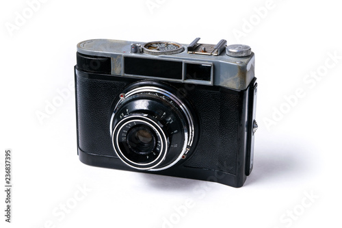 Photographie  Retro soviet film photographic camera  isolated on white background