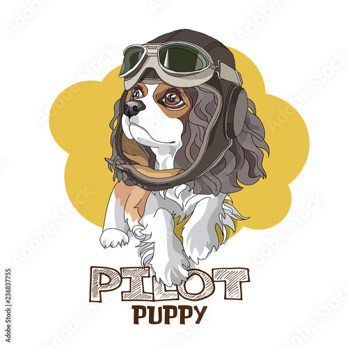 Obraz na plátne Puppy Cavalier King Charles Spaniel in a leather pilot hat on a yellow background
