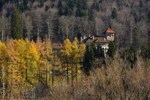 Beautiful autumn landscape with Cantacuzino Palace in the middle of Bucegi mountains forest, Busteni, Prahova Valley, Romania