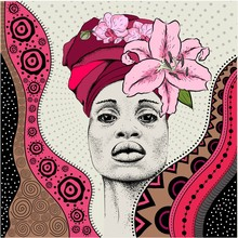 Beautiful African Woman In National Dress And Flower Wreath. Arikansky National Ethnic Ornament. Vector Illustration