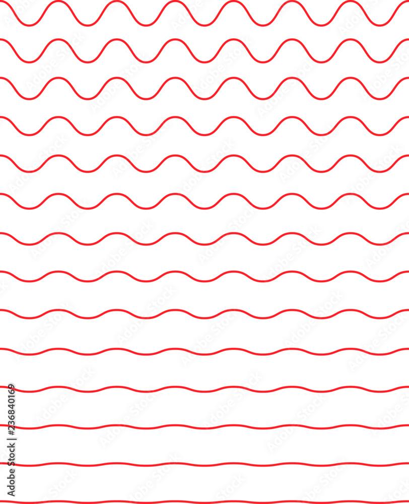 Fototapety, obrazy: Set of wavy horizontal lines. Vector simple new design element