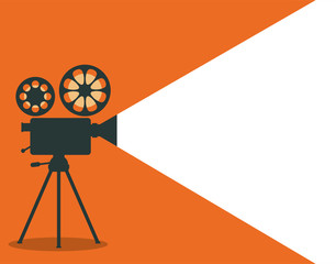 Retro cinema projector vector illustration