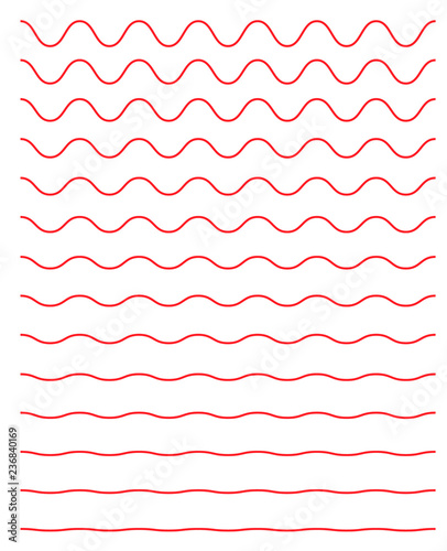 Fotografie, Obraz  Set of wavy horizontal lines. Vector simple new design element