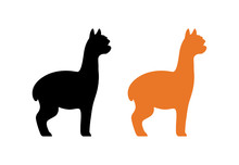 Silhouette Of Peruvian Alpaca In Black And Orange Color Isolated On White. Vector Illustration Of Furry American Animal