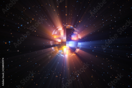 Foto  3d illustration rotation of a colorful multi-colored disco ball with particles a