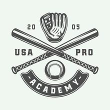Vintage Baseball Sport Logo, Emblem, Badge, Mark, Label. Monochrome Graphic Art. Illustration. Vector.