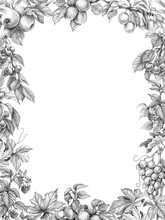 Fruit Vertical Frame Pencil Drawing