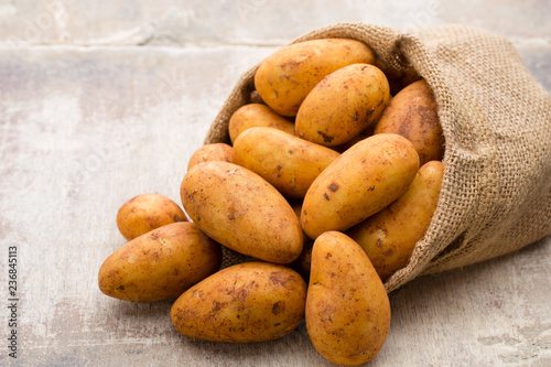A bio russet potato wooden vintage background. Slika na platnu