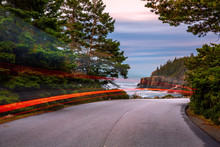 Park Loop Road At Dusk, With Light Trails, In Acadia National Park, Maine