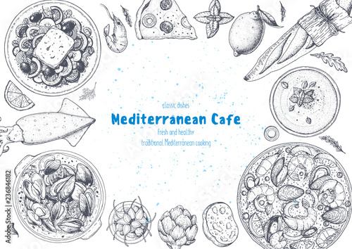 Mediterranean cuisine top view frame Wallpaper Mural