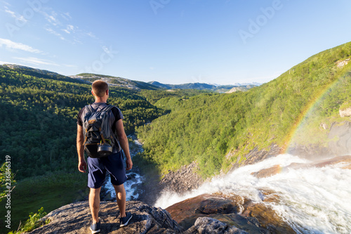 Slika na platnu person enjoying the scenic landscape view, fjell, Mountains, waterfall