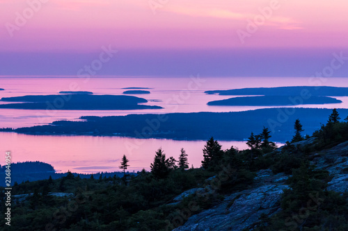 The sunset from the top of Cadillac Mountain in Acadia National Park in Maine Wallpaper Mural