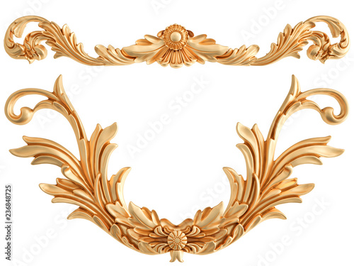 Foto  Gold ornament on a white background. Isolated