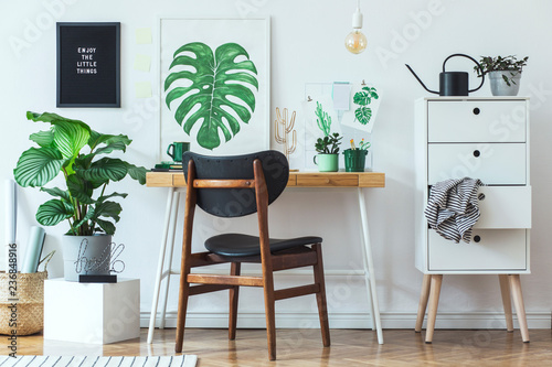 Stylish Scandinavian Open Space With Office Desk With Mock Up Poster