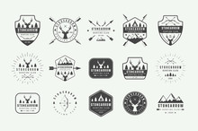 Set Of Vintage Hunting Labels, Logos, Badges, Emblems, Marks And Design Elements. Vector Illustration. Monochrome Graphic Art.