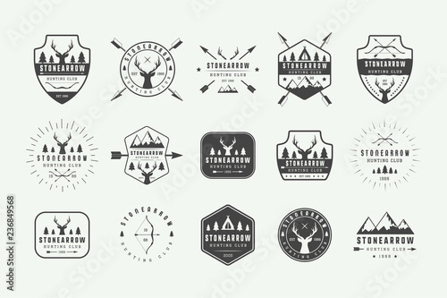Photo Set of vintage hunting labels, logos, badges, emblems, marks and design elements