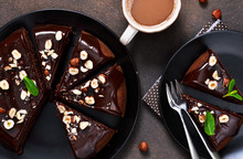 Chocolate Cake With Hot Chocol...
