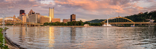Pittsburgh skyline and Point State Park Wallpaper Mural