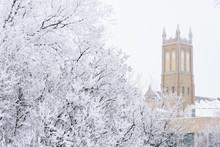 Church Tower In Winter Scene
