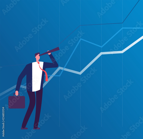 Obraz Business vision. Businessman with telescope looking to future success. Leadership and strategy plan vector concept. Business leadership search with telescope illustration - fototapety do salonu
