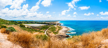 Panoramic View On North Galilee Nature And Mediterranean Sea Coast From Rosh Hanikra National Park In Israel