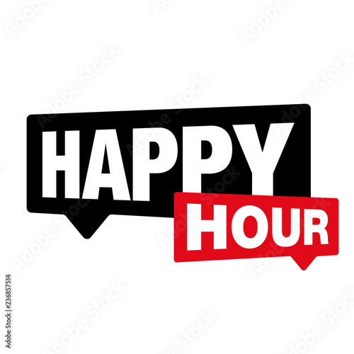 Photo Happy Hour label sign