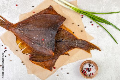 Obraz na płótnie smoked flounder on white background