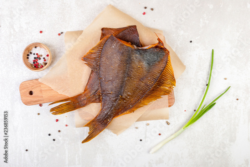 Obraz na plátne smoked flounder on white background