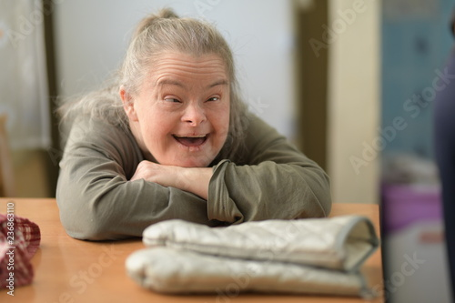 Fotografia  adult woman with down syndrome