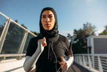 Healthy Sporty Woman In Hijab ...