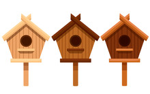 Set Of Wooden Bird House. Nesting Box From Different Types Of Wood. Flat Vector Illustration Isolated On White Background