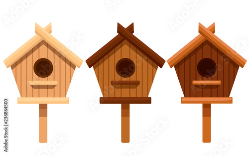 Canvastavla Set of wooden bird house