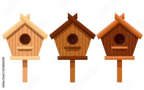 Stampa su Tela Set of wooden bird house