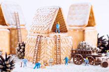 Photo Of A Christmas Cookie House And Toys